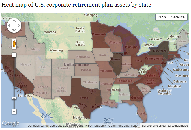 Map of U.S. corporate retirement plans (Pensions & Investments)