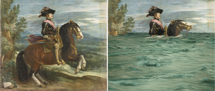 man on horse underwater